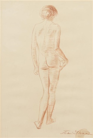 standing figure back view by john french sloan
