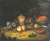 still life with fruit in a forest glade by william smith