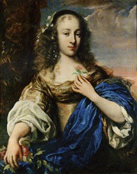 portrait of a young girl wearing a gold dress and blue sash, holding a rose by jürgen ovens