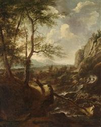 gebirgslandschaft mit einem wasserfall by roelant roghman