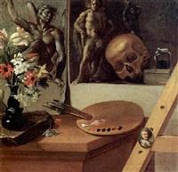 vanitas con vaso di fiori, tavolezza, ritrattino in ovale e altro by antonio cioci
