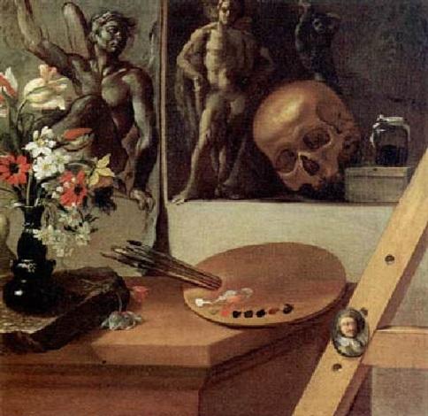 vanitas con vaso di fiori tavolezza ritrattino in ovale e altro by antonio cioci
