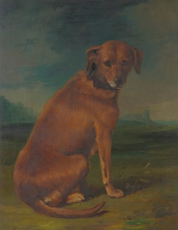 a sporting dog in a landscape by george stubbs