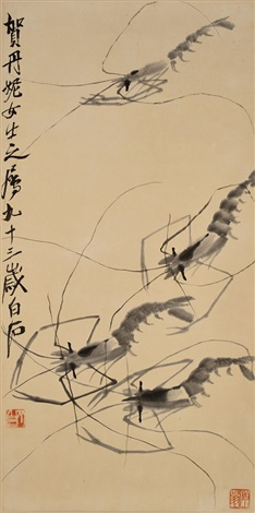 four shrimps by qi baishi