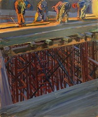 construction workers (illus. for 4/30/1967 issue of new york times supplement) by robert weaver