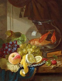 still life with fruit and goldfish in a bowl on a ledge by john wainwright
