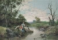pastorelli lungo il ruscello by francesco capuano