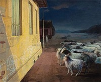 羊上墙 (a sheep cross the wall) by qi mengguang