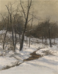 winterliche bachlandschaft by august fink