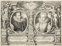 honori virtuti. porträtmedaillons maximilians von bayern und der kurpfalz mit seiner gemahlin elisabeth umgeben von allegorischen gestalten by lukas kilian