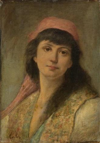 jeune femme au foulard rouge by albert anker