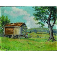 a pastoral landscape with a hut and a tree in the foreground by henrik ibsen