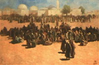 place animée devant la mosquée, tunisie by odön tull