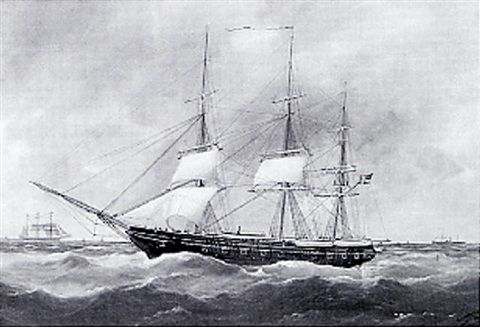 american masted ship at sea by edouard the younger adam