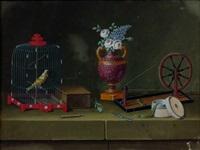 nature morte avec rouet et oiseau en cage (+ nature morte avec instruments de géographie et oiseau; 2 works) by lelong
