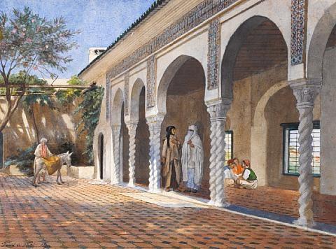 courtyard scene algiers by david emile joseph de noter