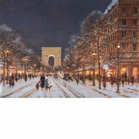 winter on the champs elysees by paul renard