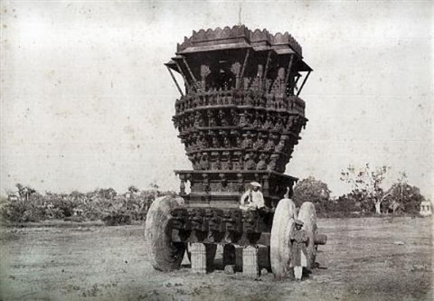 bunshunkuree idol car with stone wheels from architecture in dharwar and mysore by thomas biggs