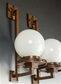 pair of rare wall sconces by frank lloyd wright