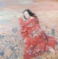 femme au kimono rouge fleuri by wang junying