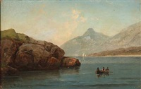 norwegian fjord scene with two fishermen in a rowing boat by carl ludwig bille