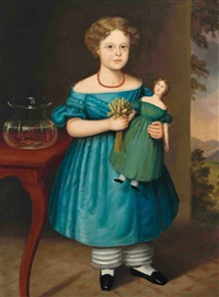 portrait of amy philpot in a blue dress with doll and goldfish by joseph whiting stock