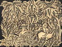 two men with ox on rope in jungle by ida made peguh