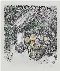 couple et panier de fruits, paris by marc chagall
