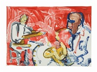 out chorus (rhythm section) by romare bearden