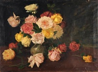 nature morte aux roses by georges akopian