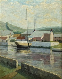 coastal inlet in village with boats by romeo charles toogood