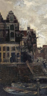 a view of an amsterdam canal by jacob henricus maris