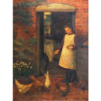 young girl feeding chickens at the cottage door by thomas w. holgate