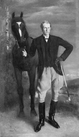 gentleman sportsman with his mount by maurice lobre