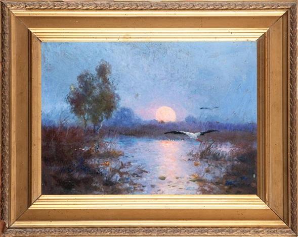zachód słońca nad moczarami by edmund cieczkiewicz