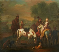 an elegant hawking party by philips wouwerman