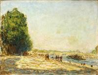 soleil couchant sur le pont de la concorde by anatole eugène hillairet