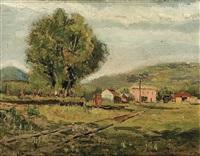 paisaje con una vía de tren by marceliano santamaria y sedano