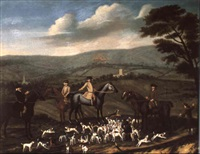 gentleman out hunting with their harriers in a hilly    landscape by nathan drake