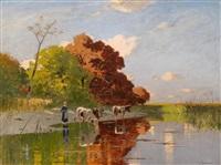 kühe und hirten am seeufer by richard von poschinger