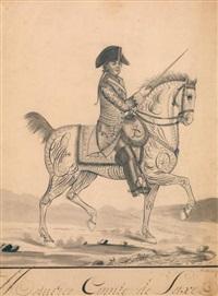 portrait équestre du comte de saxe (dessin calligraphique) by auvrest