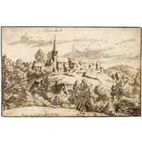 view of the abbey and ruins of chaumont-gistoux by josua de grave