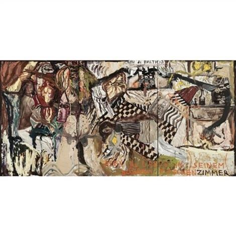 alex de large in seinem geliebten mädchenzimmer triptych by jonathan meese