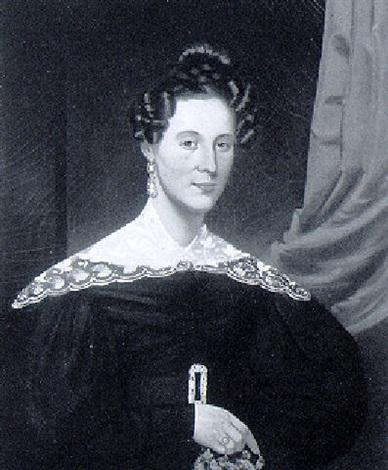 portrait of elizabeth comins holding a nosegay by john sherburne blunt