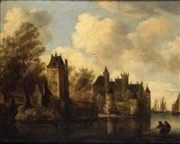 ville fortifiée en bord de fleuve, animée de personnages by frans de hulst