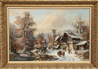 wintry village landscape by janez kenzer