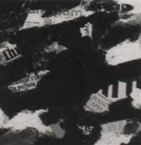 komposition in blau und schwarz mit collage by karl rödel