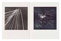 ensemble de deux oeuvres: h 1973-17 (set of 2) by hans hartung