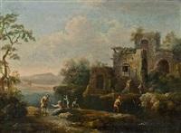 flußlandschaft mit einer ruine und anglern by christian hilfgott brand