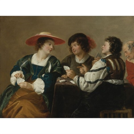 a woman and three men seated around a table playing cards by theodoor rombouts